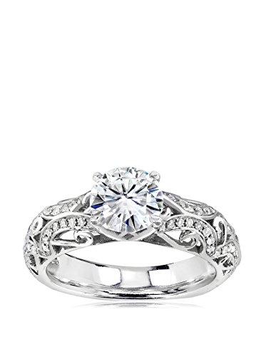 Kobelli 14K White Gold Moissanite & Diamond Filigree Engagement Ring