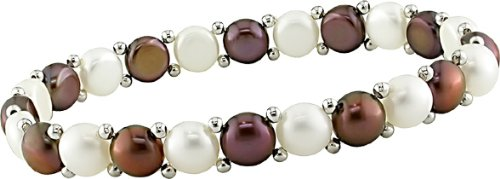 6-7mm Cultured FW Chocolate and White Pearl Elastic Bracelet in Sterling Silver