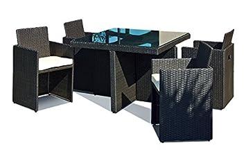 DCB GARDEN Encastrable avec 4 Fauteuils Noir 105 x 105 x 72 cm PVC-4-N