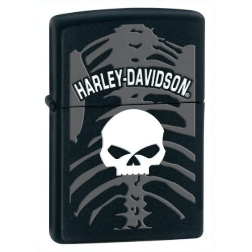 Zippo Harley Davidson Lighter White Skull With Gray Skeleton In Background Black Matte Finish
