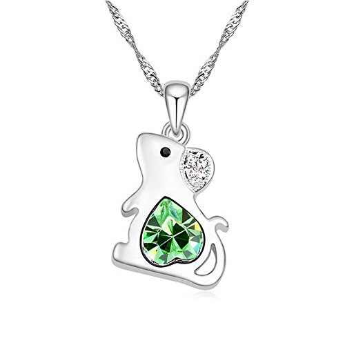 "Alvdis Rat Style Swarovski Crystal Pendant Necklace, 16"", Green"