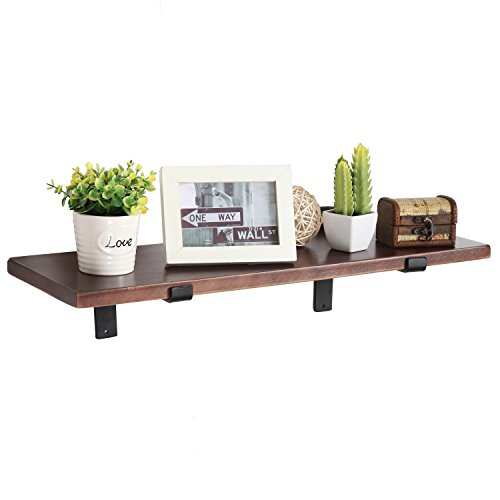 MyGift 24 Inch Wall Mounted Wood Floating Shelf with Black Metal Brackets, Brown (Black Wood Shelf Bracket compare prices)