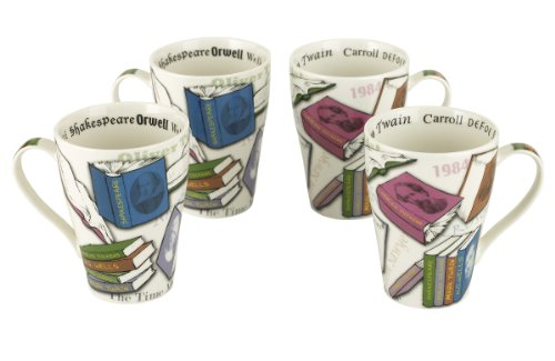 Cardew Novel Tea Bone China Mug, 15-Ounce, Set Of 4