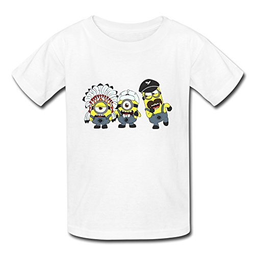 ZYA6W Crew Neck Funny Minions Chief Indians Kids Boys And Girls T-Shirts White