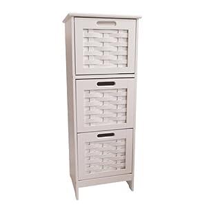 slim white weave 3 drawer storage unit bathroom cabinet