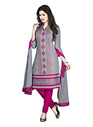 Salwar House Grey & Pink Unstitched Cotton Embroidery Dress Material with Dupatta