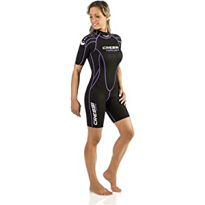 Cressi Women's 2.5mm Tortuga Wetsuit, Black/Lilac, Size 5/X-Large