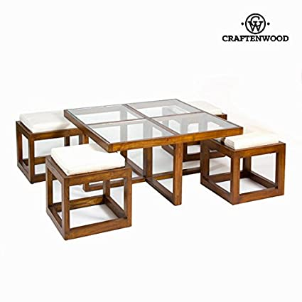 Table basse avec 4 tabourets - Collection Serious Line by Craften Wood