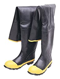 Liberty DuraWear Rubber Fabric Lined Protective Hip Wader Boot with Reinforced Knee and Front, Size 07, Black