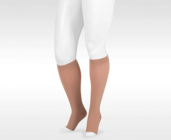 Juzo Dynamic Varin 3512 Knee-High 30-40mmhg Open Toe Stocking with Silicone Top Band (Color: Beige, Tamaño: 5 (V) Petite)