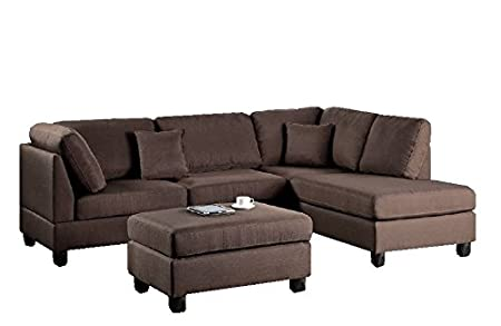 Modern Contemporary Polyfiber Fabric Sectional Sofa and Ottoman Set (Chocolate Brown)