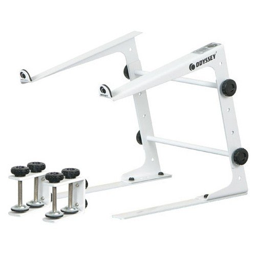Odysset L Stand White  DJ Laptop Stand With Clamps