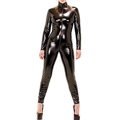 [9066 - Plus Size Spandex Wetlook Bodysuit Catsuit Jumpsuit Costume Black (3X)] (Bat Costume For Cat)