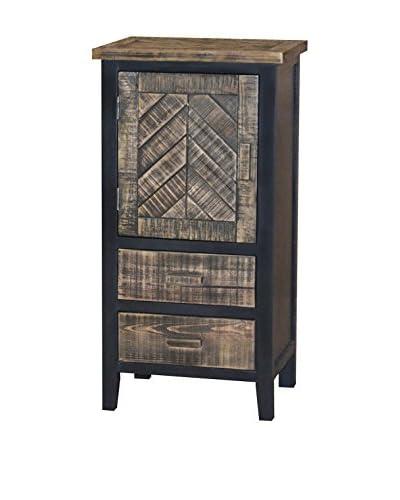 Gallerie Décor Woven Wood 1-Door 2-Drawer Cabinet, Black