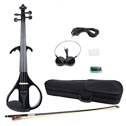 Olymstore(Tm) 4/4 Full Size Crystal Electric Violin + Case + Rosin + Head Set + Bow + Battery Black