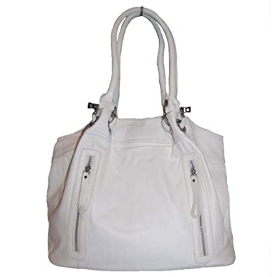 Large Zipper Tote Handbag (White)