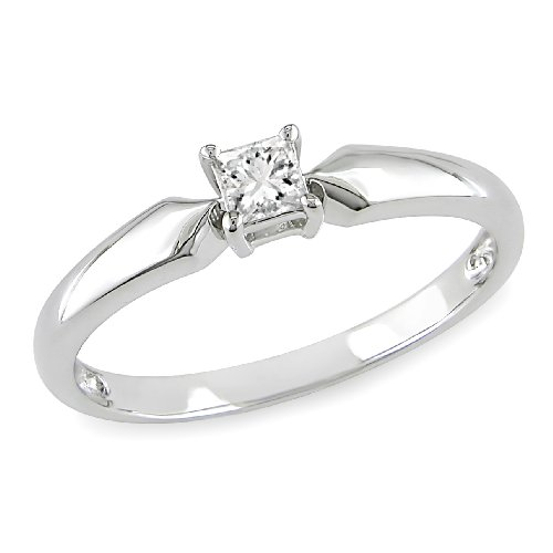 1/5 CT Princess Diamond TW Solitaire Ring 10k White Gold I3