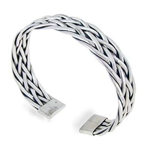 925 Sterling Silver Detailed Braided Woven Weaving Celtic Cuff Bracelet - Nickel Free