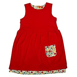 Apricot Kids Red 2 in 1 Frock For Girls -2-3 Years