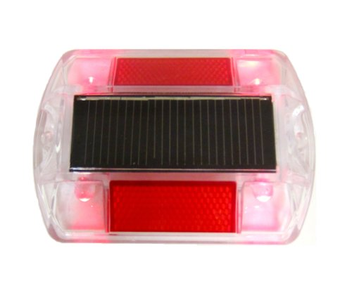 Red Polycarbonate Solar Road Stud Path Deck Dock Led Light (4 Pack)