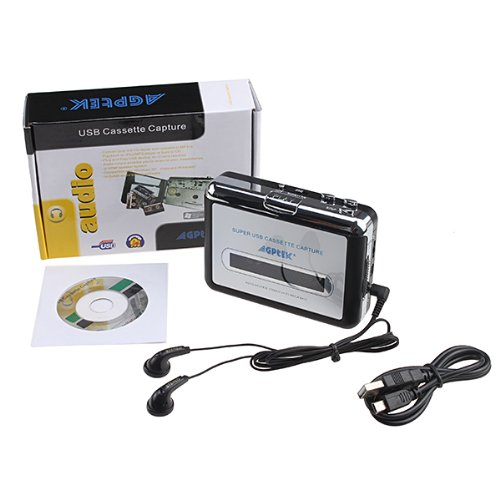 Agptek® Tape To Pc Super Usb Cassette-To-Mp3 Player Converter With Usb Cable, Headphones And Software front-33079