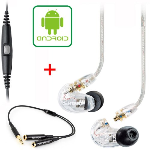 Shure Se215-Cl & Music Phone Adapter Cable For Blackberry And Most Android Phones + 3.5Mm Y Cable