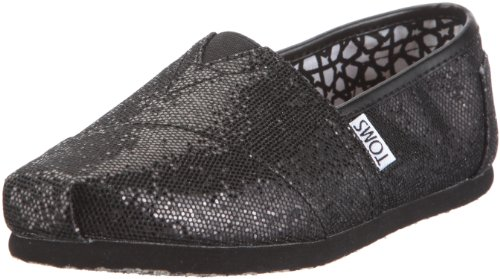 Toms Women's Classic Glitter Canvas Black Glitter Low Top Canvas Flat Shoe - 7M