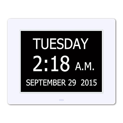 5 Daily Alarms & 3 Medicine Reminder - Hurrah Extra-Large Memory Loss Digital Calendar Day Clock with Non-Abbreviated Day (White) (Digital Clock With Date compare prices)
