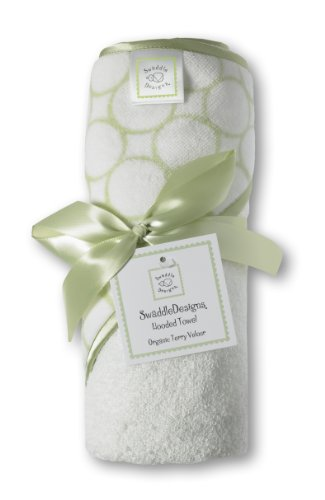 SwaddleDesigns Organic Cotton Hooded Towel, Mod Circles, Kiwi
