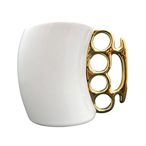MOACC Best Choice Design Fist Cup Brass Knuckle Duster Handle Coffee Milk Tea Ceramic Fist Mug Cup Cool Gift White with Golden Handle (Brass Knuckle Beer compare prices)