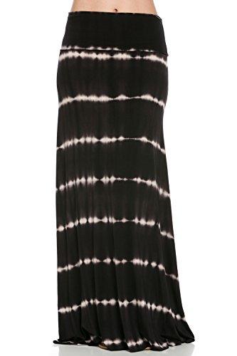 Frumos Womens Tie Dye Elastic Waist Maxi Skirts Black Line Cor Large