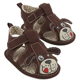 Rising Star Infant Boys Brown Puppy Dog Sandals Strappy Loafers Crib Shoes