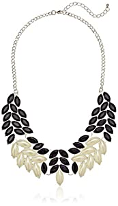 """Faux Pearl and Black Faceted Stone Fern Statement Necklace, 18"""""""