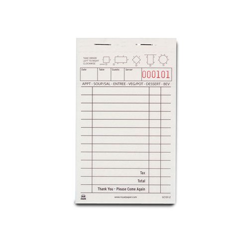 Royal White Order Pads, Carbonless 2 Part Booked with 13 Lines, Package of 10 Books (Restaurant Menu Templates compare prices)