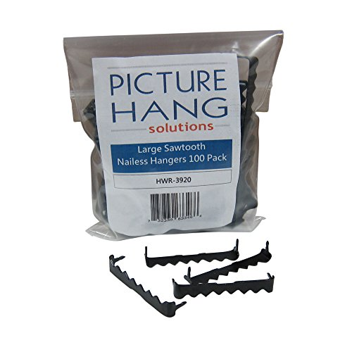 100 Sawtooth Picture Hangers No Nail – 1 3/4 Inch – Black