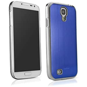 BoxWave Minimus Brushed Aluminum Galaxy S4 Case - Ultra Low Profile, Slim Fit Premium Quality Snap Shell Cover with Polished Brushed Aluminum Back Cover - Galaxy S4 Cases and Covers (Lunar Blue)