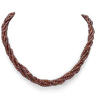 14k Yellow Gold 3-4mm 4-rows Twisted Red Garnet Gemstones Interlock-clasp Necklace, 18""