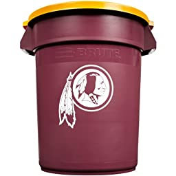 Rubbermaid Commercial Team Brute 32-Gallon Trash Can and Lid, Washington Redskins