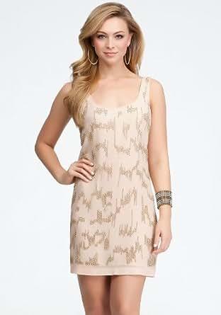 Amazon.com: bebe Gold Beaded Rose Pink Dress - SIZE SMALL: Clothing