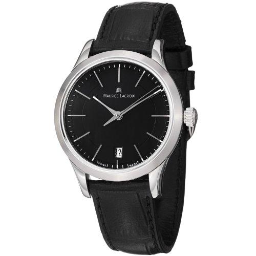 De las mujeres de Maurice Lacroix LC1026-SS001330 Les Classiques esfera de color negro y la correa de cuero reloj de pulsera para mujer