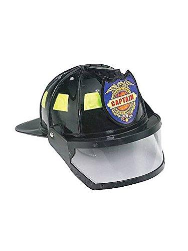 Jacobson Hat Company Men's Plastic Fireman Helmet with Visor, Black, Adult