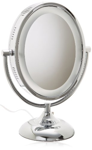 Jerdon Hl958C 8-Inch Tabletop Two-Sided Swivel Oval Halo Lighted Vanity Mirror With 8X Magnification, 13.75-Inch Height, Chrome Finish