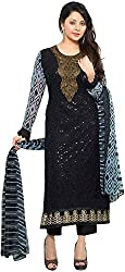 K.K BROTHERS Women's Georgette Dress Material (Black)