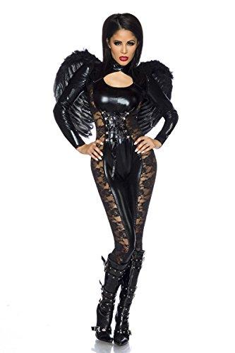 Black Angel Halloween-Kostüm Wetlook-Overall mit Flügel in One-Size