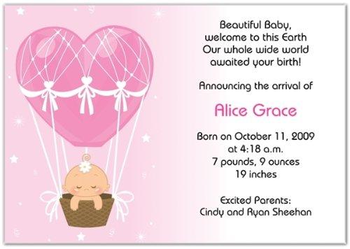 Hot Air Balloon Baby Girl Birth Announcements - Set of 20