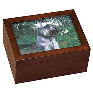 Wooden Cherry Finished Large Pet Urn Memory Box Includes: Photo Frame