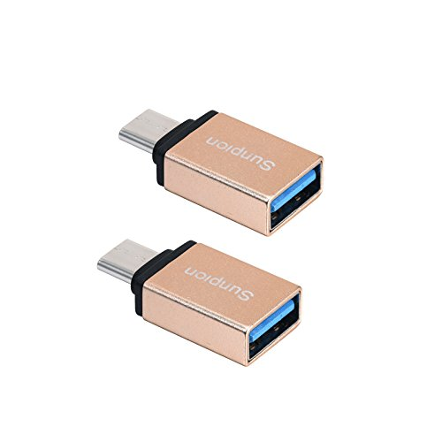 (Pack of 2)USB Tipo C Cavi, Sunpion® USB C a USB 3.0 Adapter Convert Connector, for Huawei P9, ChromeBook,HTC 10, LG G5, Nexus 5X, Nexus 6P, OnePlus 3 and Others Devices (Gold)