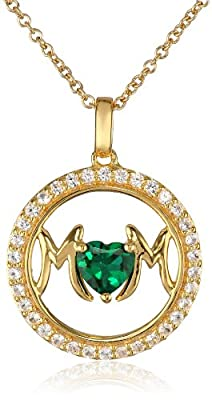 """Sterling Silver with 14k Gold Plating Created Gemstone and Created White Sapphire Mom Circle Pendant Necklace, 18"""""""
