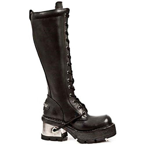 NEWROCK New Rock M.236 - Ladies s1 del tacco della piattaforma ginocchio metallo pizzo gotico pelle nero 40