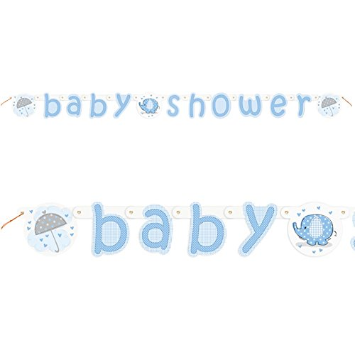 Blue Elephant Baby Shower Jointed Banner (Elephant Baby Shower Banner compare prices)